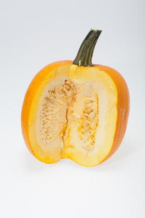 cucurbit: Fresh orange pumpkin isolated on white background
