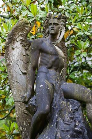 touraine: The sculpture of the angel in the garden of the castle in  Montresor. Loire Valley, France