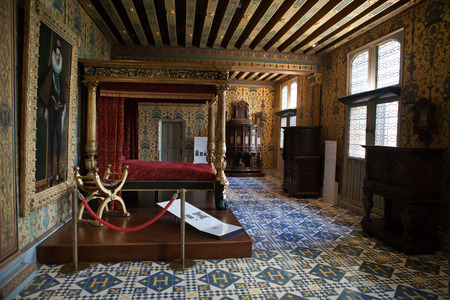 poster bed: The Royal Chateau de Blois. Interior of the Francis I wing