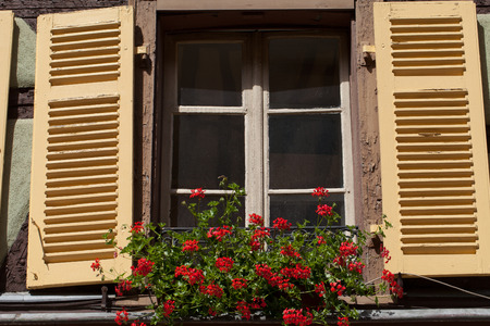 fachwerk:  window with shutters and flower pots