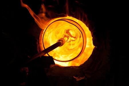 Glass blowing process  Archivio Fotografico