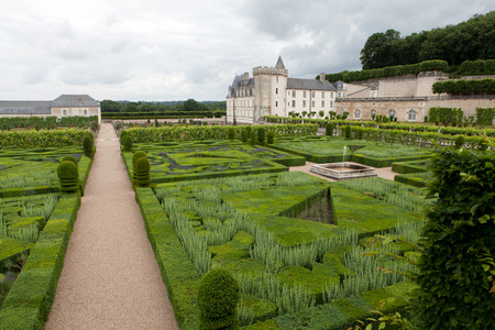 herbs de provence: Gardens and Chateau de Villandry  in  Loire Valley in France  Stock Photo