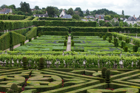 touraine: Gardens and Chateau de Villandry  in  Loire Valley in France  Editorial