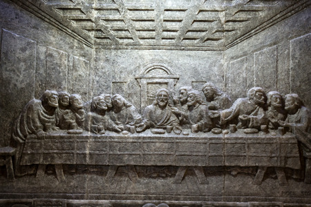 Cracow , Lagiewniki - The centre of Pope John Paul II. Unique reliefs from salt in the chapel St Kingas - the last Supper