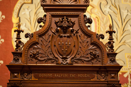 Heraldic motifs in the castle Chambord. .Valley of the river Cher. France