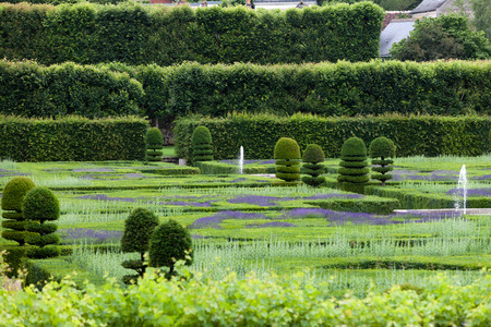 Gardens and Chateau de Villandry  in  Loire Valley in France  photo