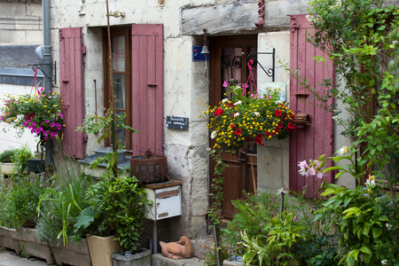 small country town: Montsoreau the charming small country town in the valley of Loire