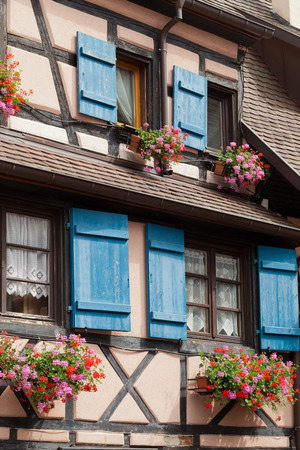 chinon: Window of a house in Eguisheim, Alsace, France  Stock Photo