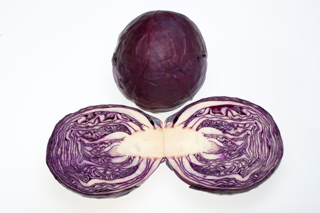 savoy cabbage: Red Cabbage cross section on White Background  Stock Photo