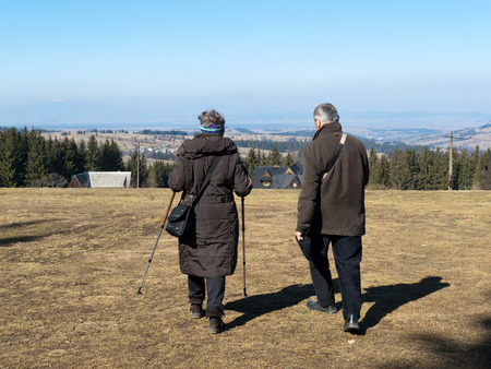 senior couple making nordic walking photo
