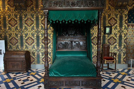 four poster bed: The Royal Chateau de Blois. Interior of the Francis I wing