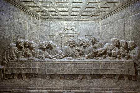 last supper: Cracow , Lagiewniki - The centre of Pope John Paul II. Unique reliefs from salt in the chapel St Kingas - the last Supper