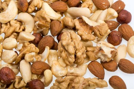 cashews:  mixed nuts -  hazelnuts, walnuts, cashews,  pine nuts Stock Photo