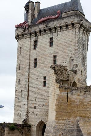 chinon: Castle of Chinon - La Tour de lHorloge clock tower. Loire Valley. Editorial
