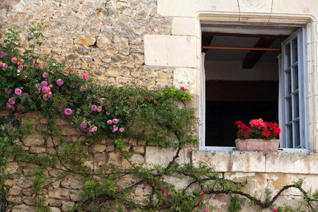 valdorcia: window with  flowers of geranium and roses
