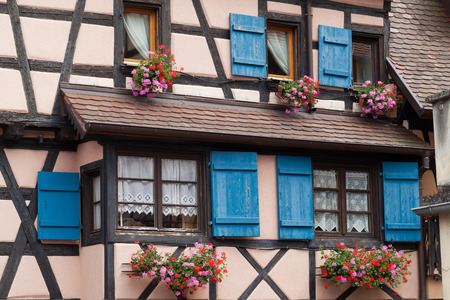 Window of a house in Eguisheim, Alsace, France  photo