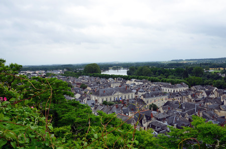 chinon: Roofs of Chinon town, Vienne valley, France