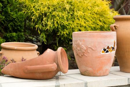 ceremic: Ceremic jug in garden Stock Photo