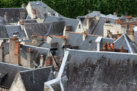 chinon: Roofs of Chinon town, Vienne  valley, France  Stock Photo