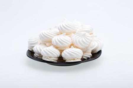 French vanilla meringue cookies on white  Stock Photo