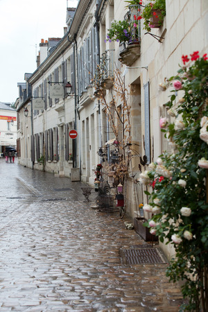 chinon: Romantic streets in French country towns in the Valley of Loire Stock Photo