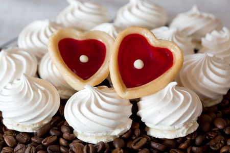 teacake: French vanilla meringue cookies and two sweet hearts