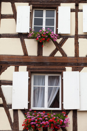 fachwerk: Timbered houses in the village of Eguisheim in Alsace, France Stock Photo