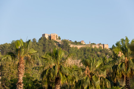 The castle in Alanya built on the hill above the beach of Cleopatra in Turkey