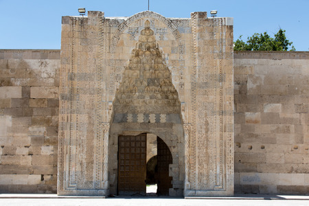 vaulting: entrance to the Sultanhani caravansary on the Silk Road, Turkey  Editorial