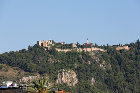 turkiye: The castle in Alanya built on the hill above the beach of Cleopatra. Turkey