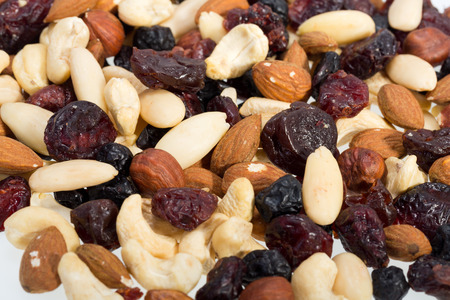 cobnut:  mixed nuts and dried fruits isolated on white background