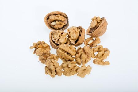 cracked walnut isolated on the white background  Archivio Fotografico