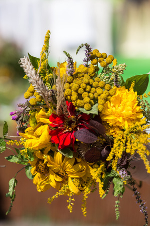 beautiful bouquets of flowers and herbs  photo