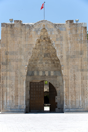 seljuk: entrance to the Sultanhani caravansary on the Silk Road, Turkey  Stock Photo