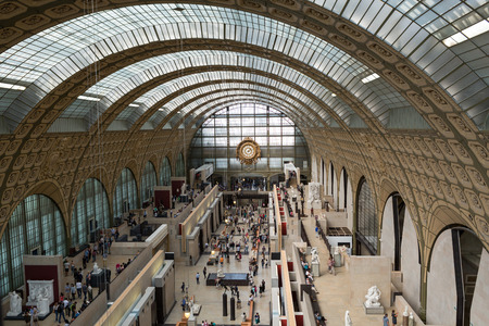 PARIS -SEPTEMBER 7, 2014: the museum DOrsay in Paris, France. Musee dOrsay has the largest collection of impressionist and post-impressionist paintings in the world.