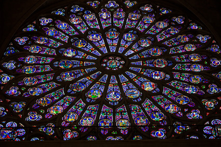Paris, Notre Dame Cathedral. North transept rose window. The Glorification of the Virgin Mary