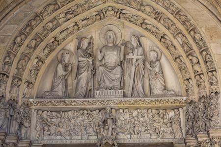 ile de la cite: Paris - Last Judgment Tympanum of the Sainte Chapelle, built in 1239, in Ile de la Cite