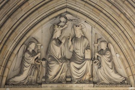 ile de la cite: Paris -  Marys coronation, Tympanum of the Sainte Chapelle, built in 1239, in Ile de la Cite