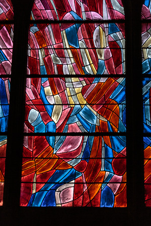 Stained glass window in the Church of SaintSeverin is a Roman Catholic church in the Latin Quarter of Paris France photo