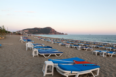 Alanya - Late afternoon on Cleopatra Beach. Alanya is one of most popular seaside resorts in Turkey photo