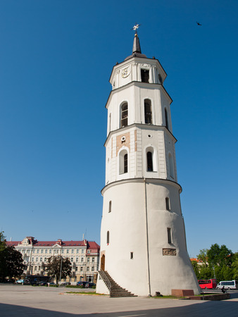 sainthood: Vilnus, Lithuania - May 23, 2014:  Vilnius - Cathedral square. The Cathedral of Vilnius is the heart of Catholic spiritual life in Lithuania. Stock Photo