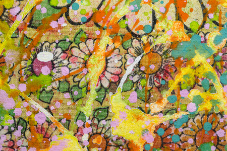 sloppy: The flowery background sloppy with colourful  paint