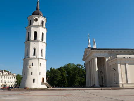 sainthood: Vilnus, Lithuania - May 23, 2014:  Vilnius - Cathedral square. The Cathedral of Vilnius is the heart of Catholic spiritual life in Lithuania Stock Photo