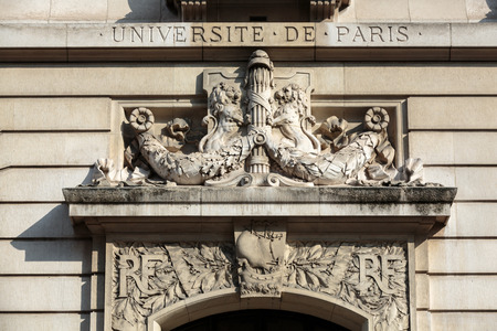 directly below: Sorbonne University in Paris. Name is derived from College de Sorbonne, founded in 1257 by Robert de Sorbon as one of the first colleges of medieval University in Paris. France