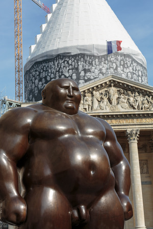A mongolian statue in standing position by Shen Hong Biao, located near the Pantheon Editorial