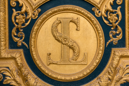 Heraldic motifs on front door to Les Invalides. Paris, France