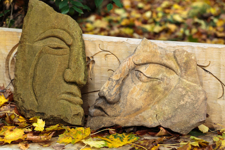 woodland sculpture: Fairy-like stone  figures from primaeval Slawic tales