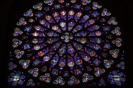 rose window: Parigi, Cattedrale di Notre Dame. Sud transetto rosone. Patrimonio mondiale dell'UNESCO. Paris, France