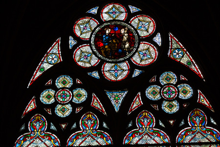 notre dame cathedral: Stained glass windows inside the treasury of  Notre Dame Cathedral, UNESCO World Heritage Site. Paris, France