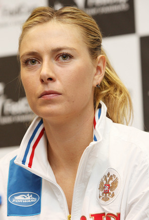grand slam: CRACOW, POLAND - FEBRUARY 4, 2015:   Maria Sharapova of Russia during press conference at Fed Cup Poland - Russia. Tauron Arena Cracow, Poland Editorial